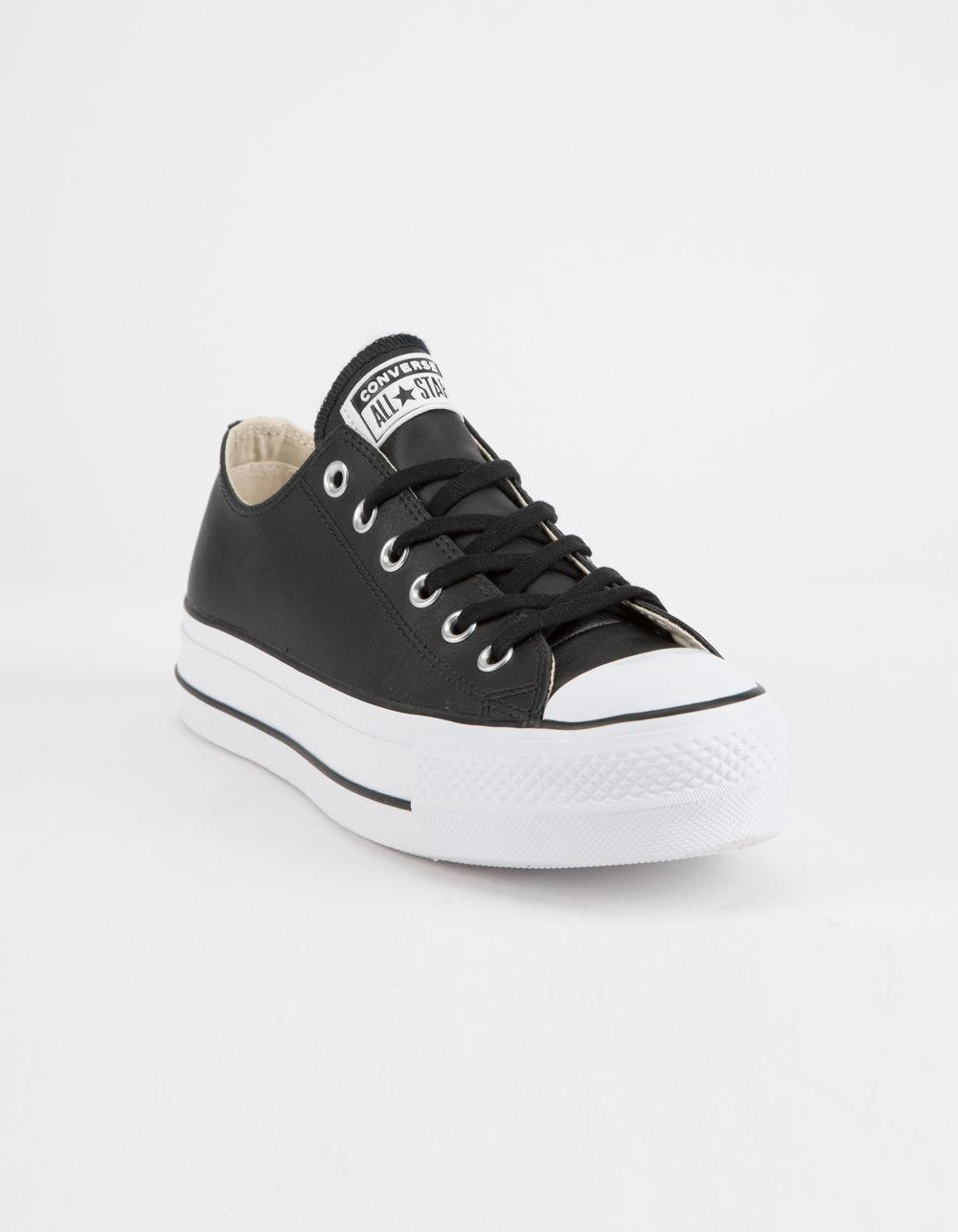 Lyst - Converse Chuck Taylor All Star Lift Faux Leather Womens Low Top Shoes  in Black 05ed75374