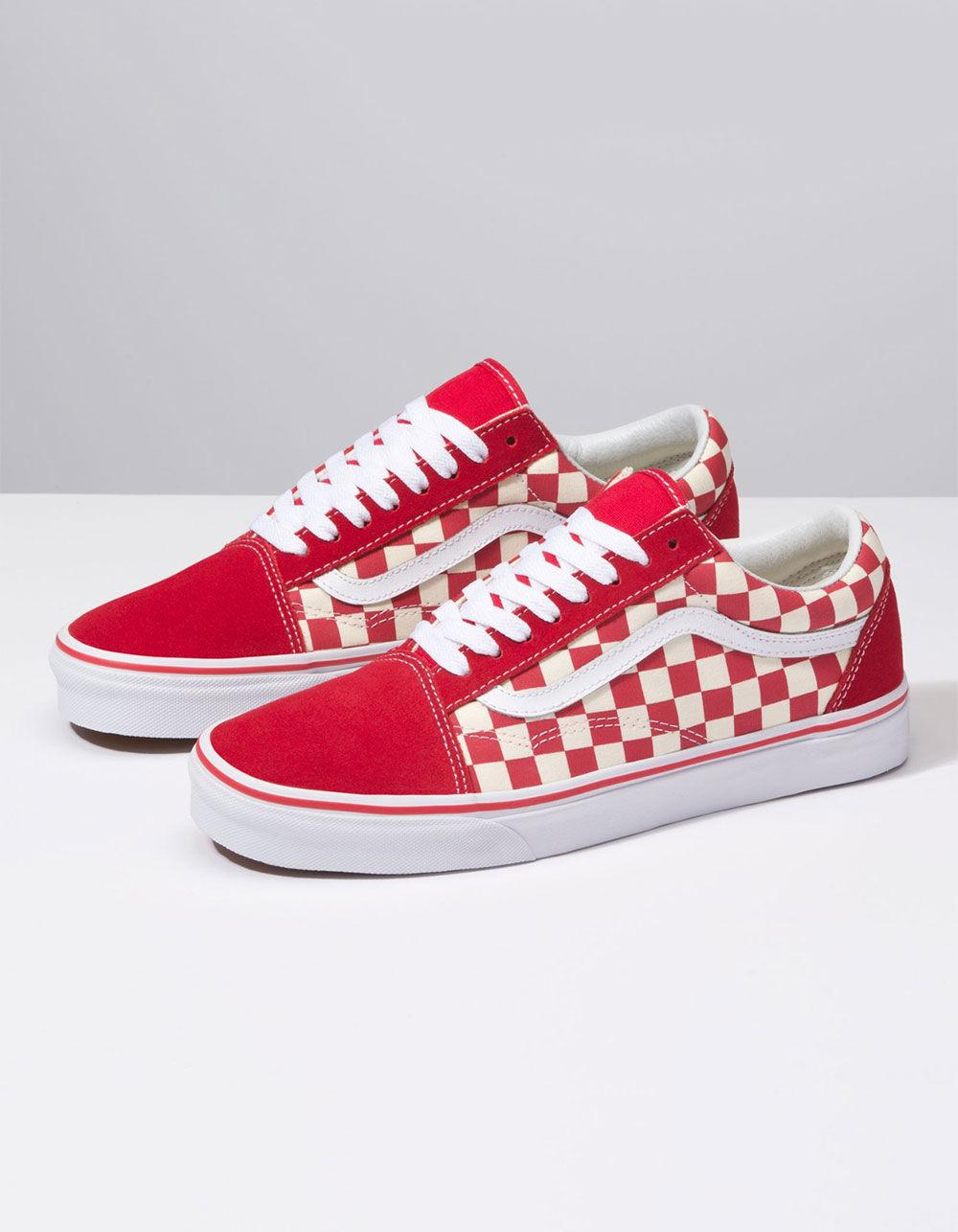 938ddc37afdf Lyst - Vans Primary Check Old Skool Racing Red   White Shoes in Red for Men