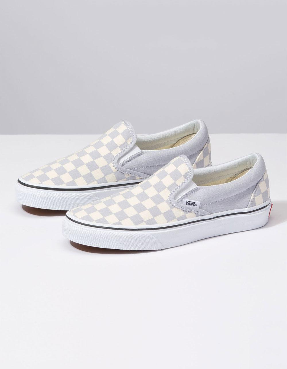 db30e839a3e887 Lyst - Vans Checkerboard Gray Dawn   True White Womens Slip-on Shoes in  White