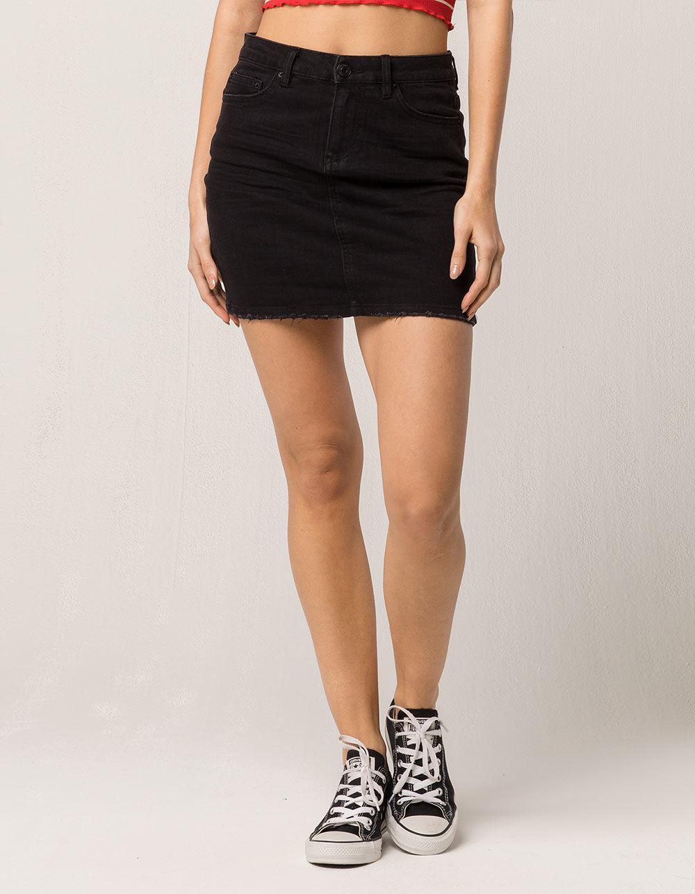c8b0531e80 Almost Famous Mid Rise Womens Denim Skirt in Black - Lyst