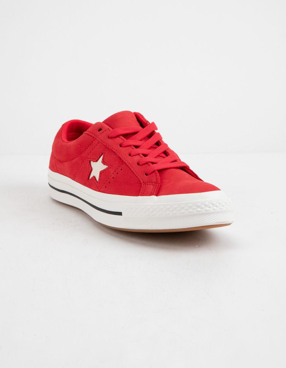 20fbf8b78556 Lyst - Converse One Star Ox Cherry Red   Vintage White Womens Low Top Shoes  in Red