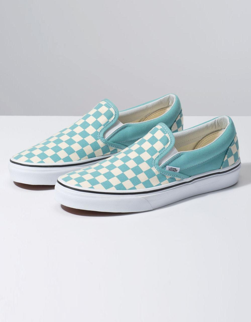 4556cad49c40 Lyst - Vans Checkerboard Classic Slip-on Aqua Haze   True White Shoes