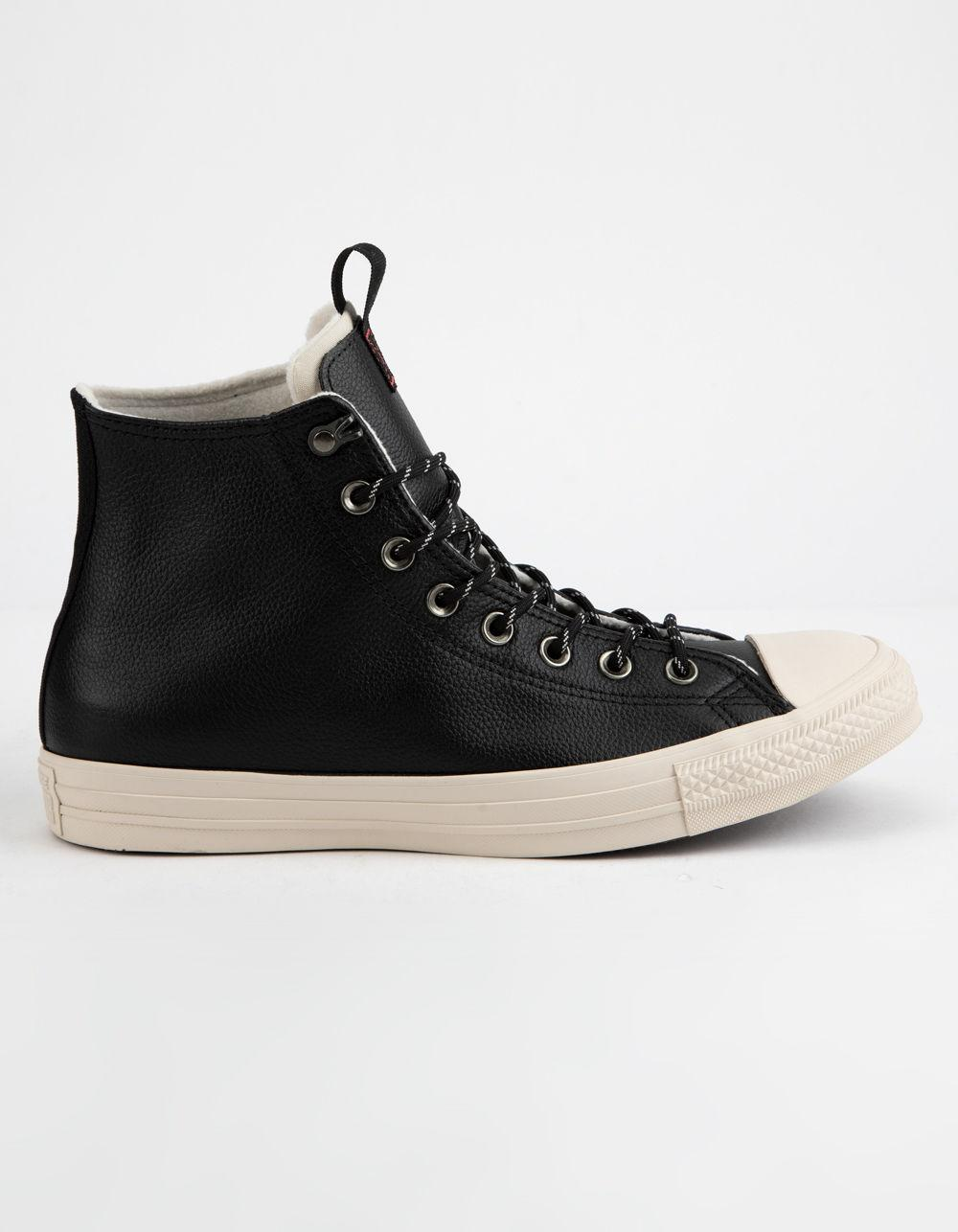 Lyst - Converse Chuck Taylor All Star Leather Black   Driftwood High ... d31d63213