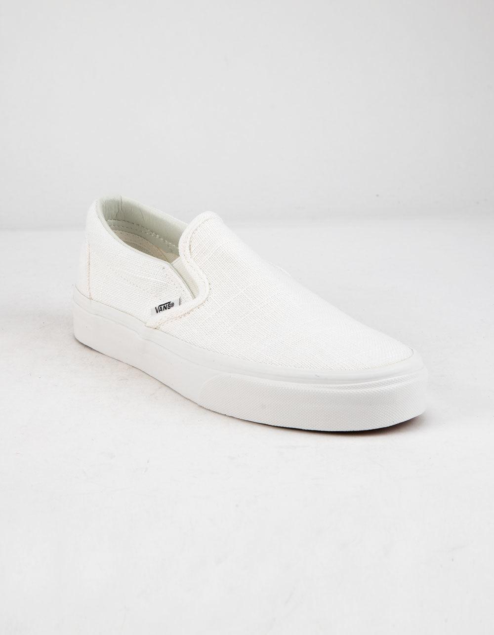 b824d84bbdb484 Lyst - Vans Hemp Linen Slip-on Blanc De Blanc Womens Shoes in White