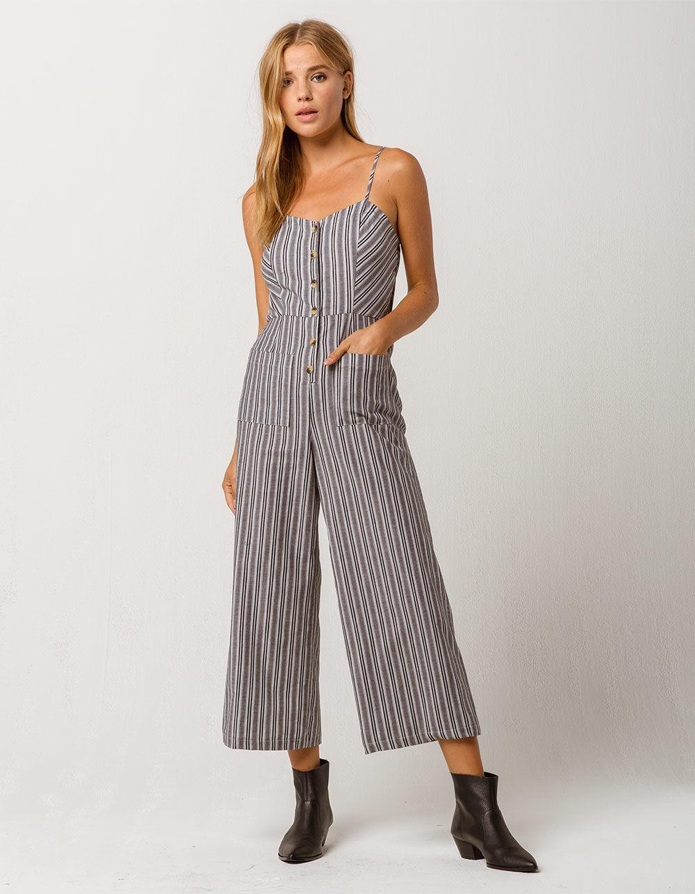 85aa9ad6fd1 Lyst - Mimi Chica Button Front Stripe Womens Jumpsuit in Black