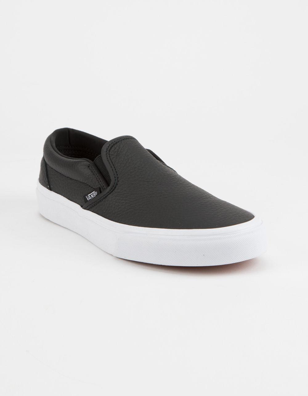 d41d06e48799 Lyst - Vans Tumble Leather Black   True White Classic Slip-on Womens Shoes  in Black
