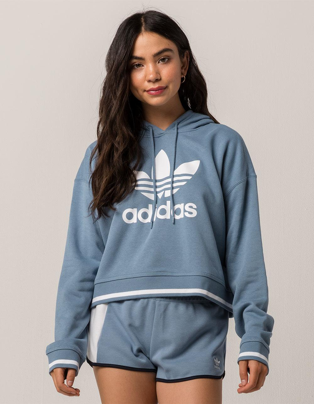 Lyst - adidas Active Icons Slate Blue Womens Crop Hoodie in Blue 6983550380