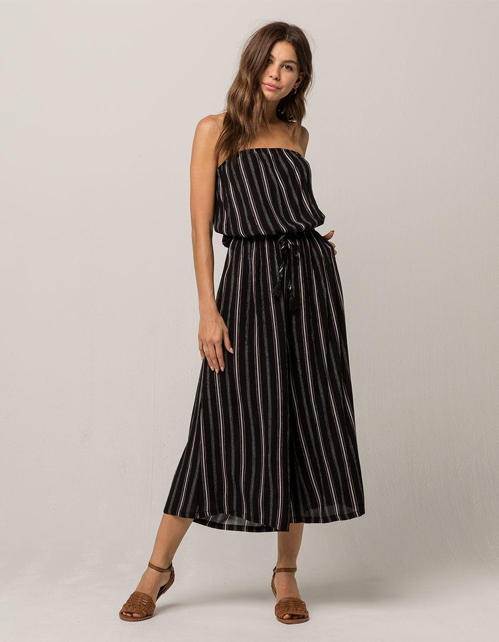 cec31b77e1b0 Lyst - Mimi Chica Stripe Crop Wide Leg Womens Jumpsuit in Black