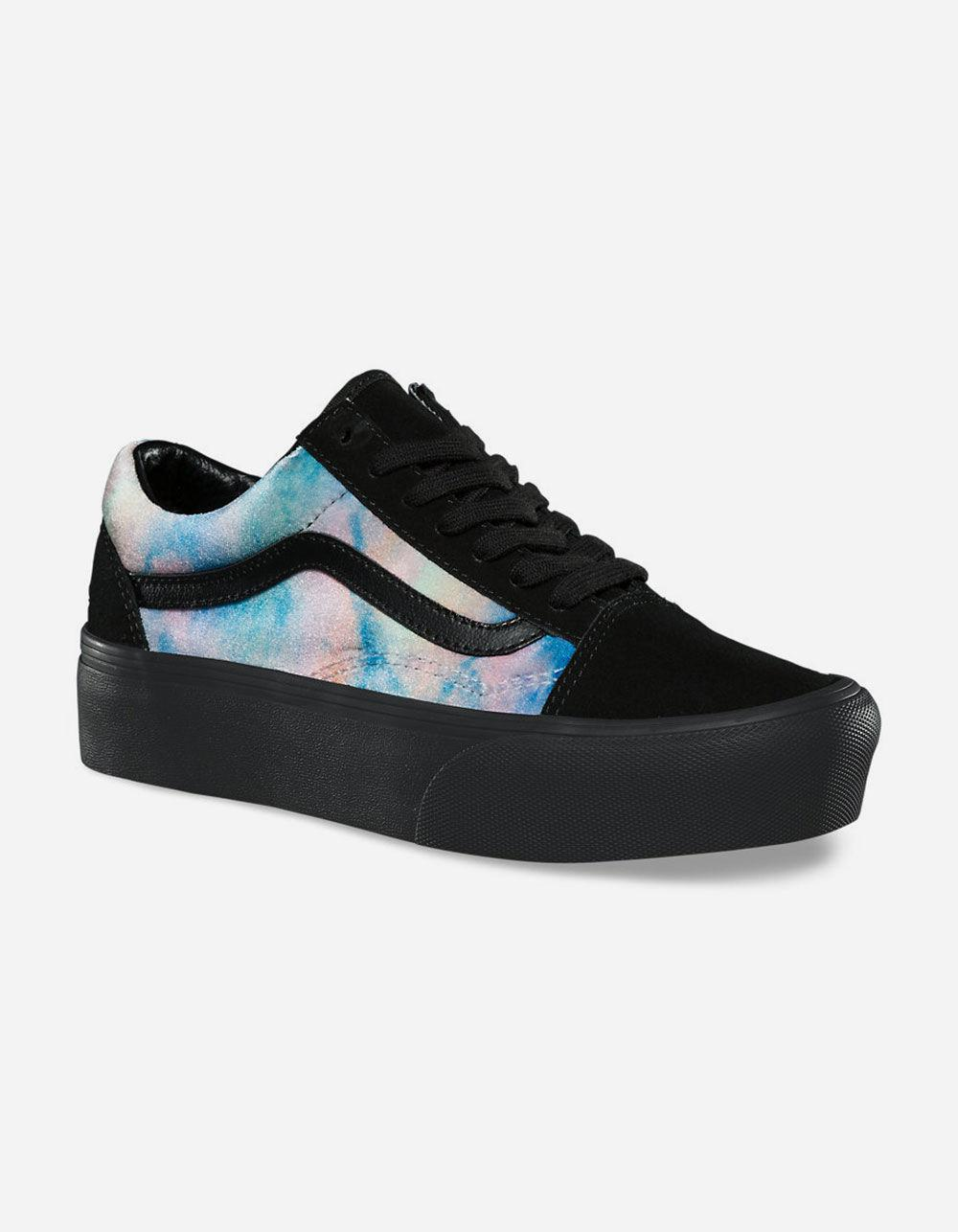 57410f6ac3d7 Lyst - Vans Velvet Tie-dye Old Skool Platform Womens Shoes in Black