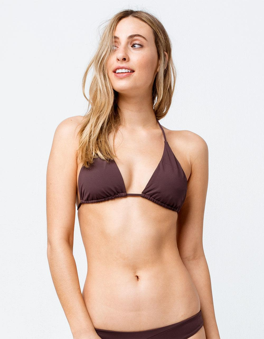 7fc437890d Volcom. Women s Brown Simply Seamless Triangle Dark Chocolate Bikini Top