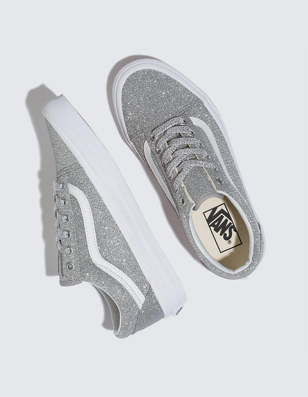 6bdbcecf01fb Lyst - Vans Old Skool Lurex Silver   True White Womens Shoes in Metallic