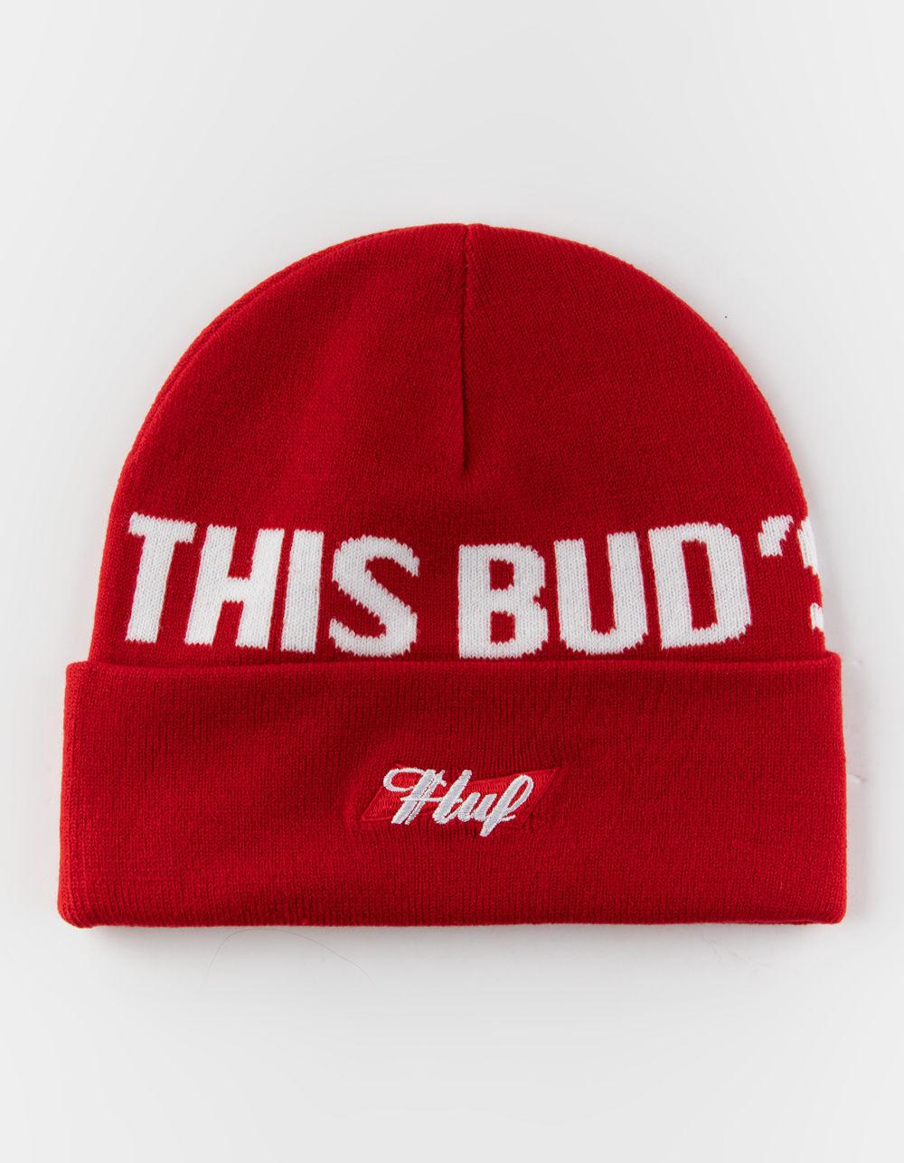 dbfa098b5133c Lyst - Huf X Budweiser This Bud s For You Red Mens Beanie in Red for ...