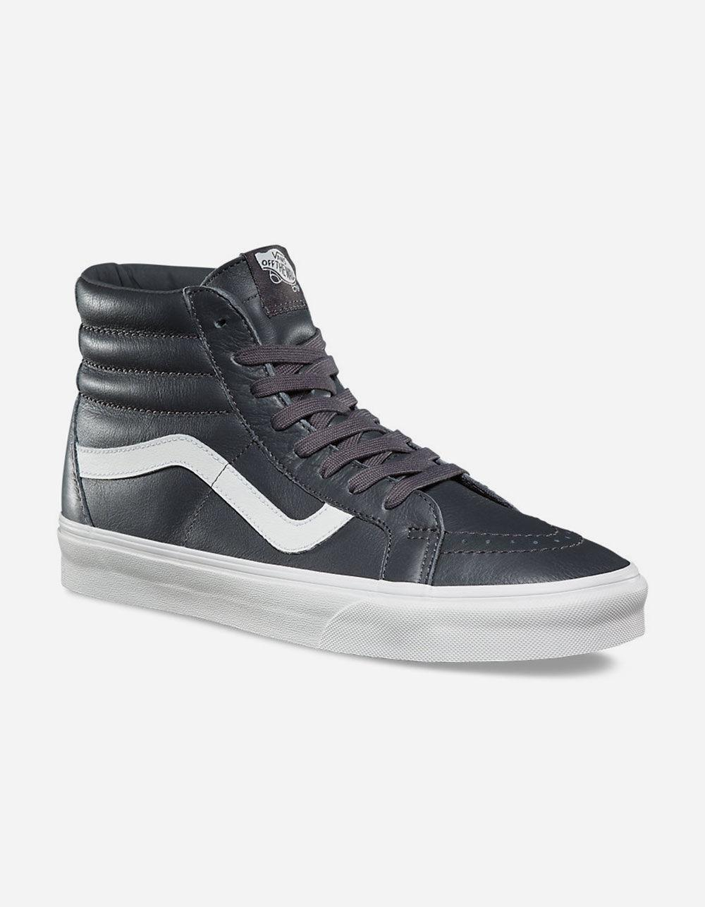 65378068870b Lyst - Vans Sk8-hi Reissue Leather Asphalt   Blanc De Blanc Shoes in Gray  for Men