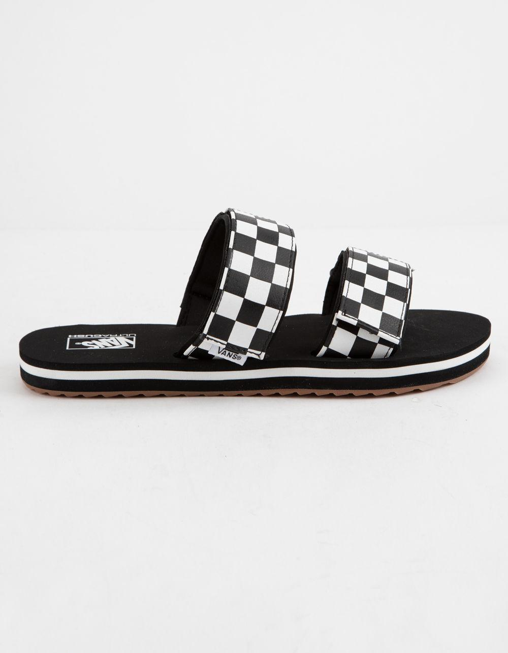 693baf41ca4 Vans - Black Cayucas Checkerboard Womens Slides - Lyst. View fullscreen