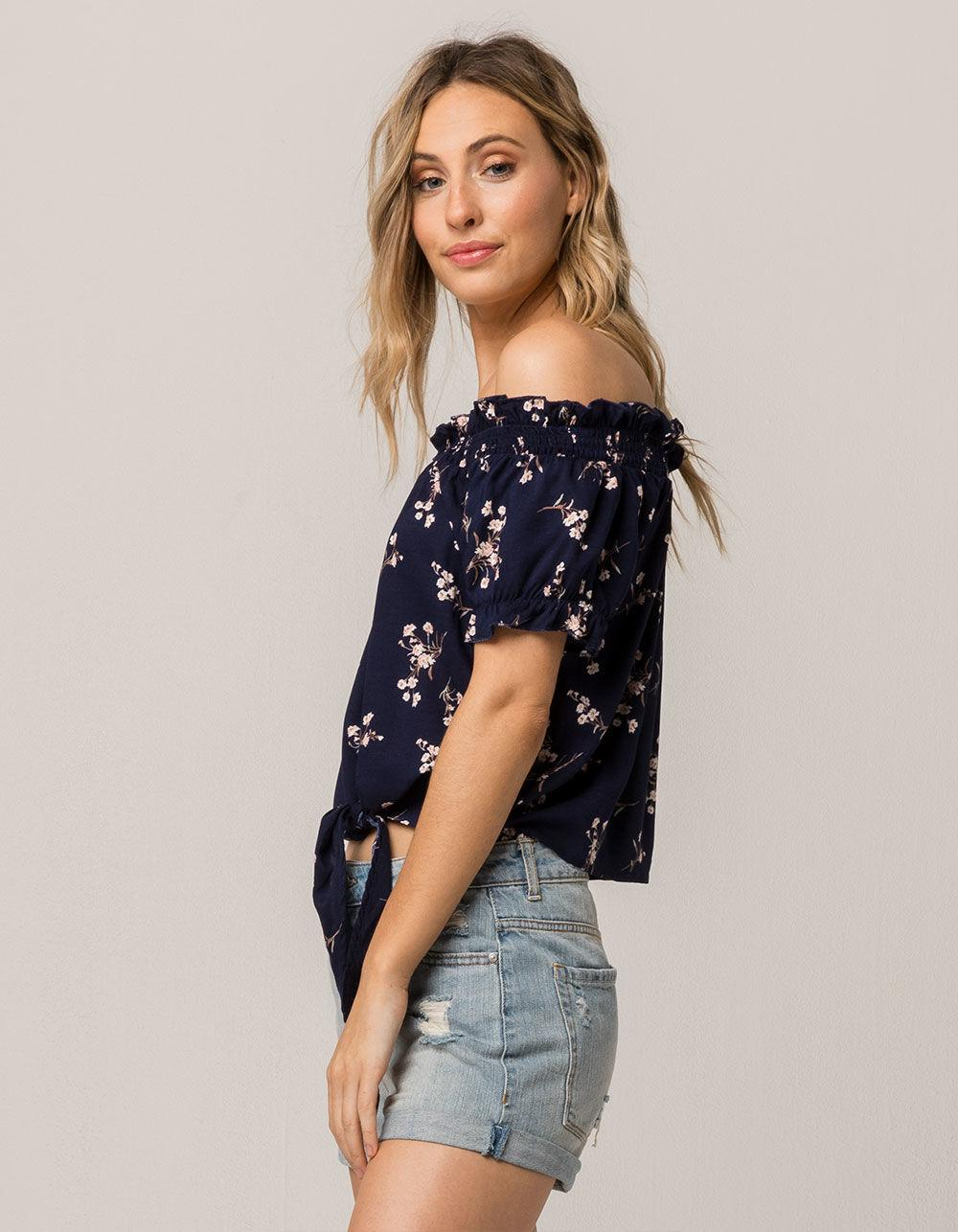 26383ea2ac53b4 Lyst - Mimi Chica Floral Tie Front Womens Off The Shoulder Top in Blue