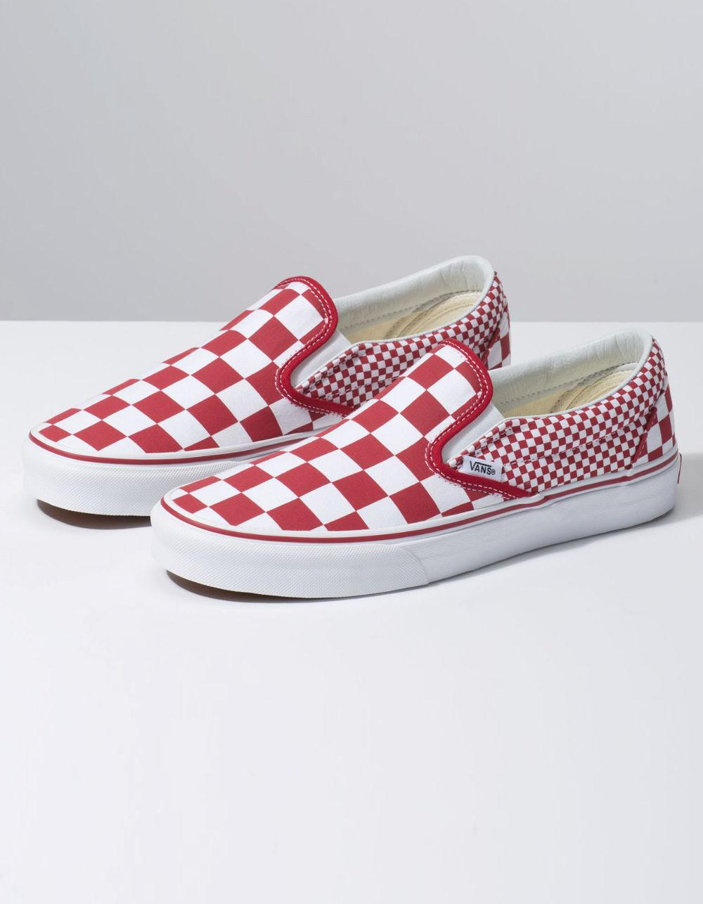 bd62d53fc70116 Lyst - Vans Mix Checker Classic Slip-on Chili Pepper   True White Shoes in  White