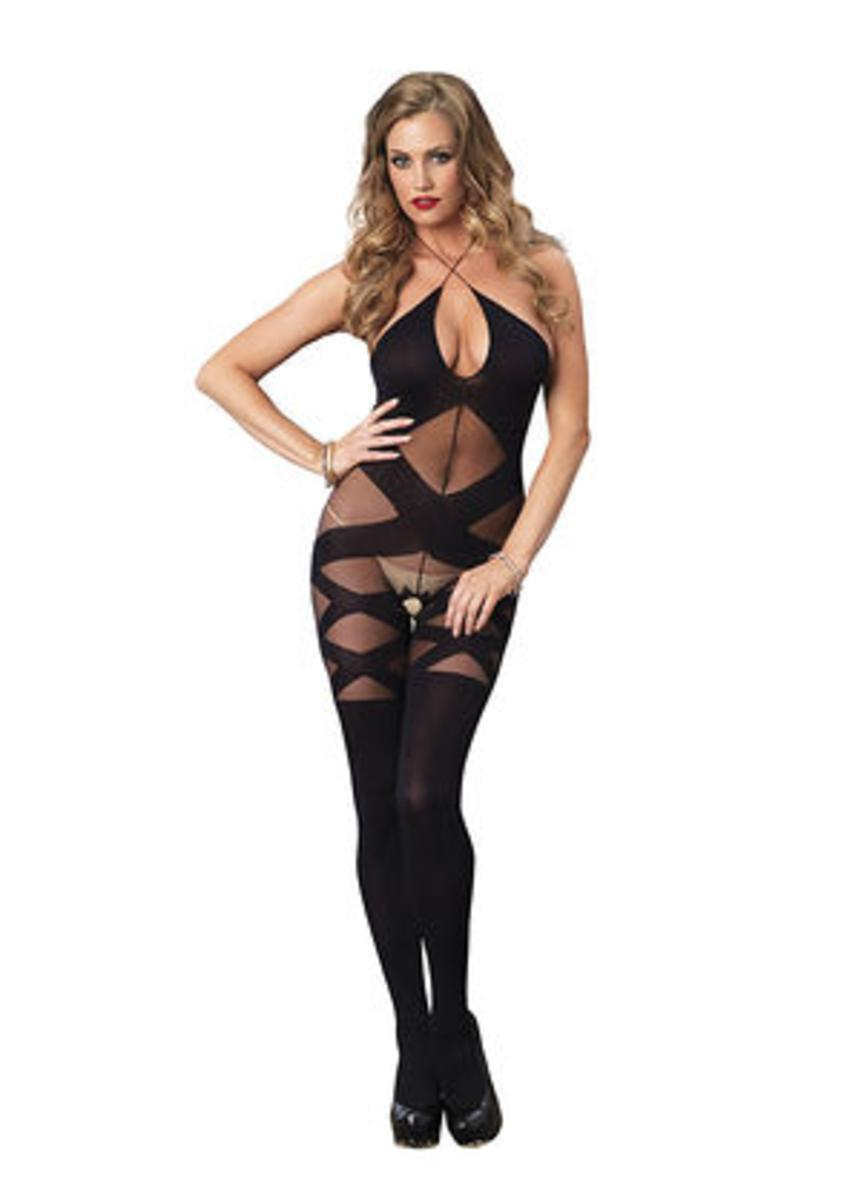 74a12c7a0 Leg Avenue. Women s Opaque And Sheer Illusion Bodystocking With Keyhole  Halter Detail In Black. From  19.99