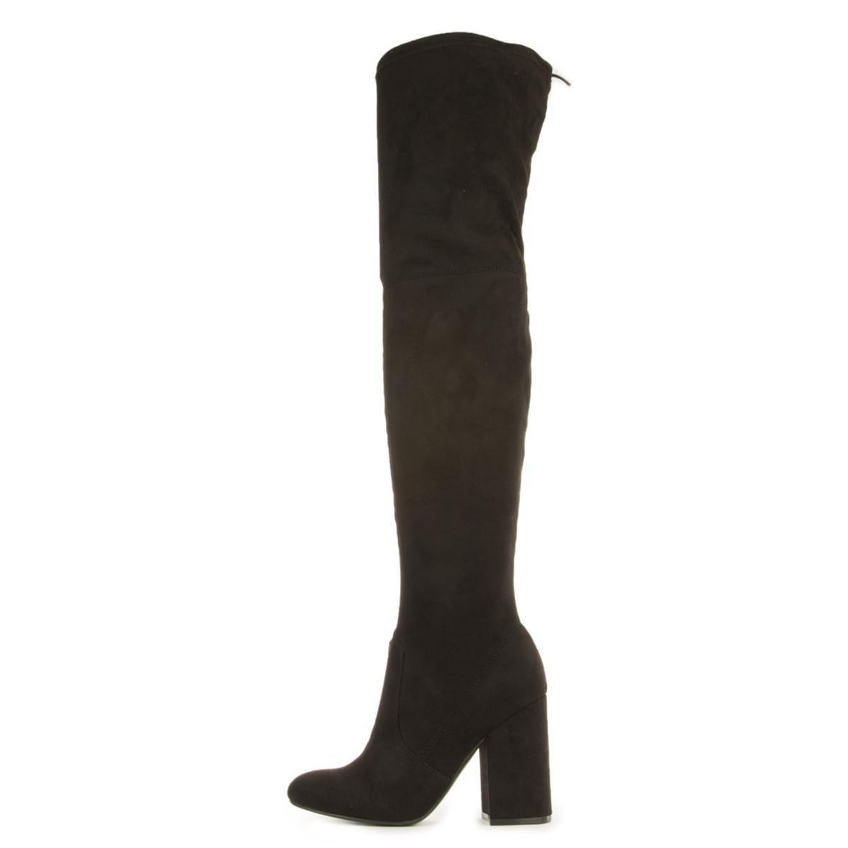 a024fca3776 Lyst - Steve Madden Norri Black Thigh High Heeled Boots in Black