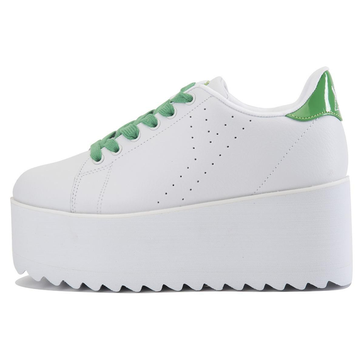 cb93cd393f0 Lyst - YRU Lala White Green Platform Sneakers in White - Save 21%