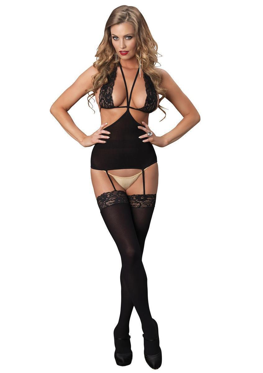 58be95c0ac Leg Avenue. Women s Opaque Cut Out Suspender Bodystocking With Lace Halter  ...