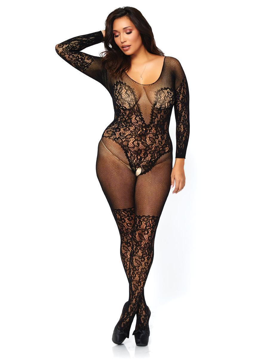 e08305bc89 Lyst - Leg Avenue Vine Lace And Net Long Sleeved in Black