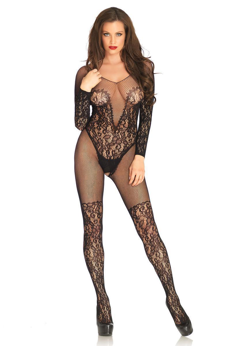 d765c29ef8 Lyst - Leg Avenue Vine Lace And Net Long Sleeved Bodystocking in Black