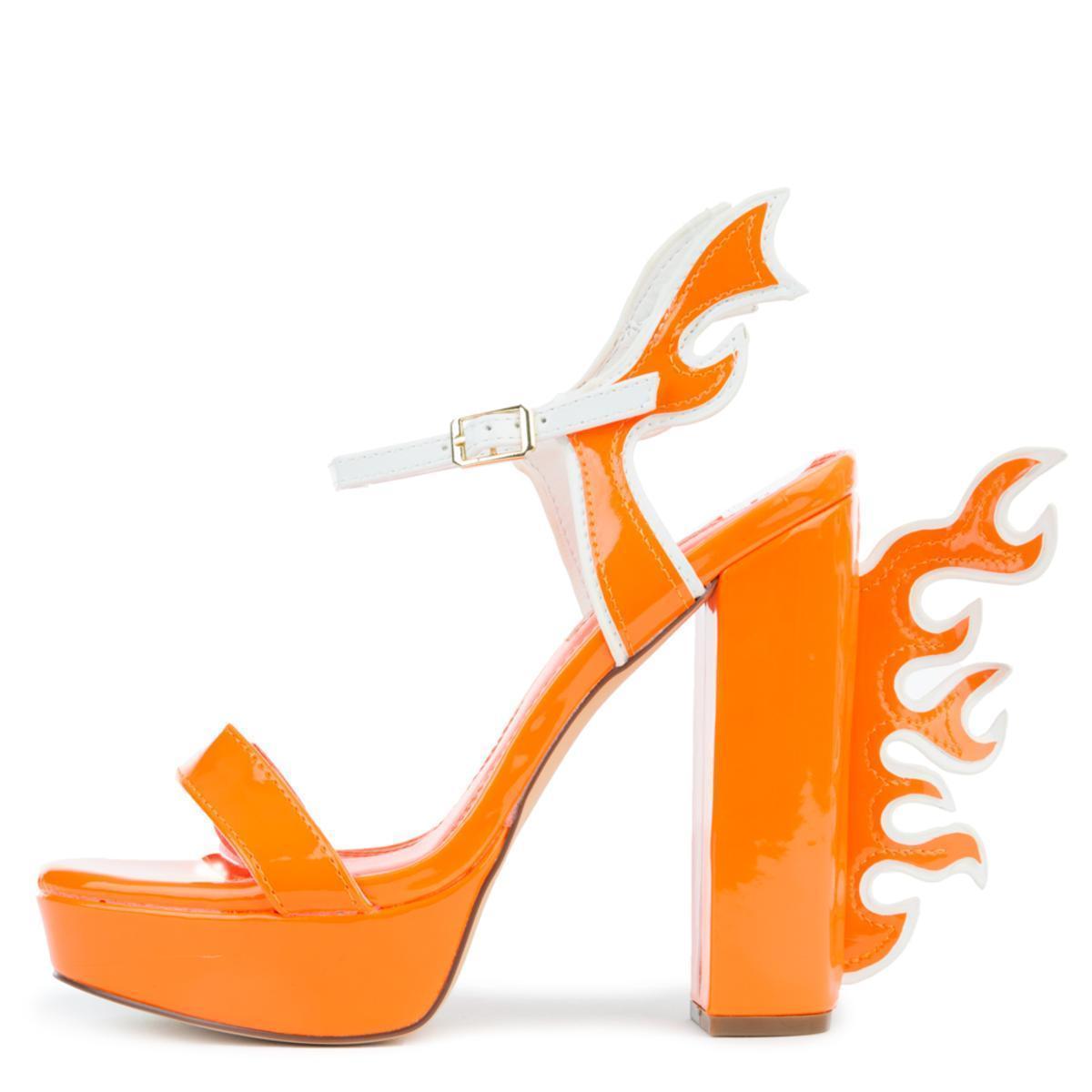71cc5fba7aea LILIANAS SHOES - Orange Chunky Heel With Flames - Lyst. View fullscreen