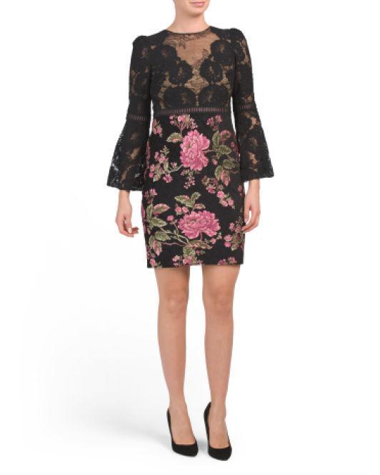993ea98b97975 Lyst - Tj Maxx Petite Embroidered Bell Sleeve Dress in Black