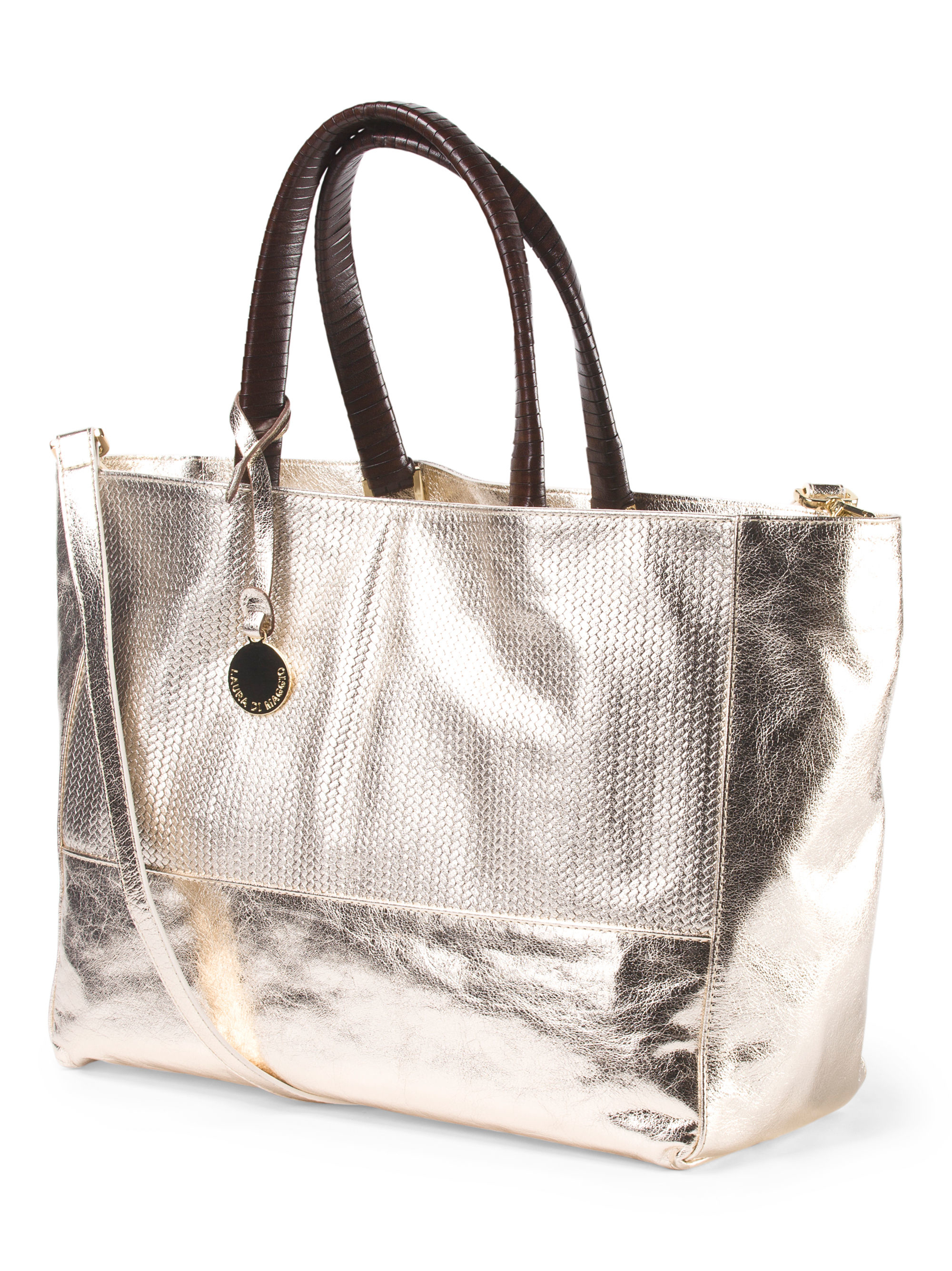 Tj Maxx Made In Italy Leather Metallic East West Tote Lyst