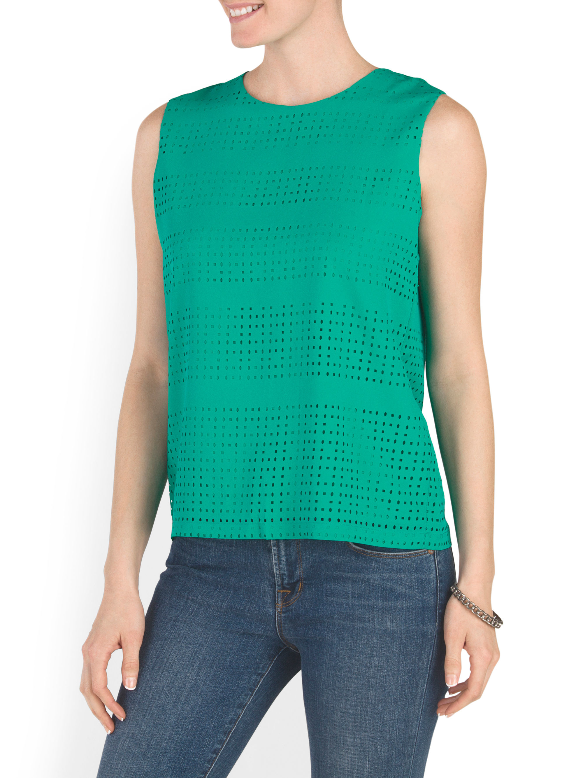 Tj maxx laser cut tank in green lyst for Tj maxx t shirts