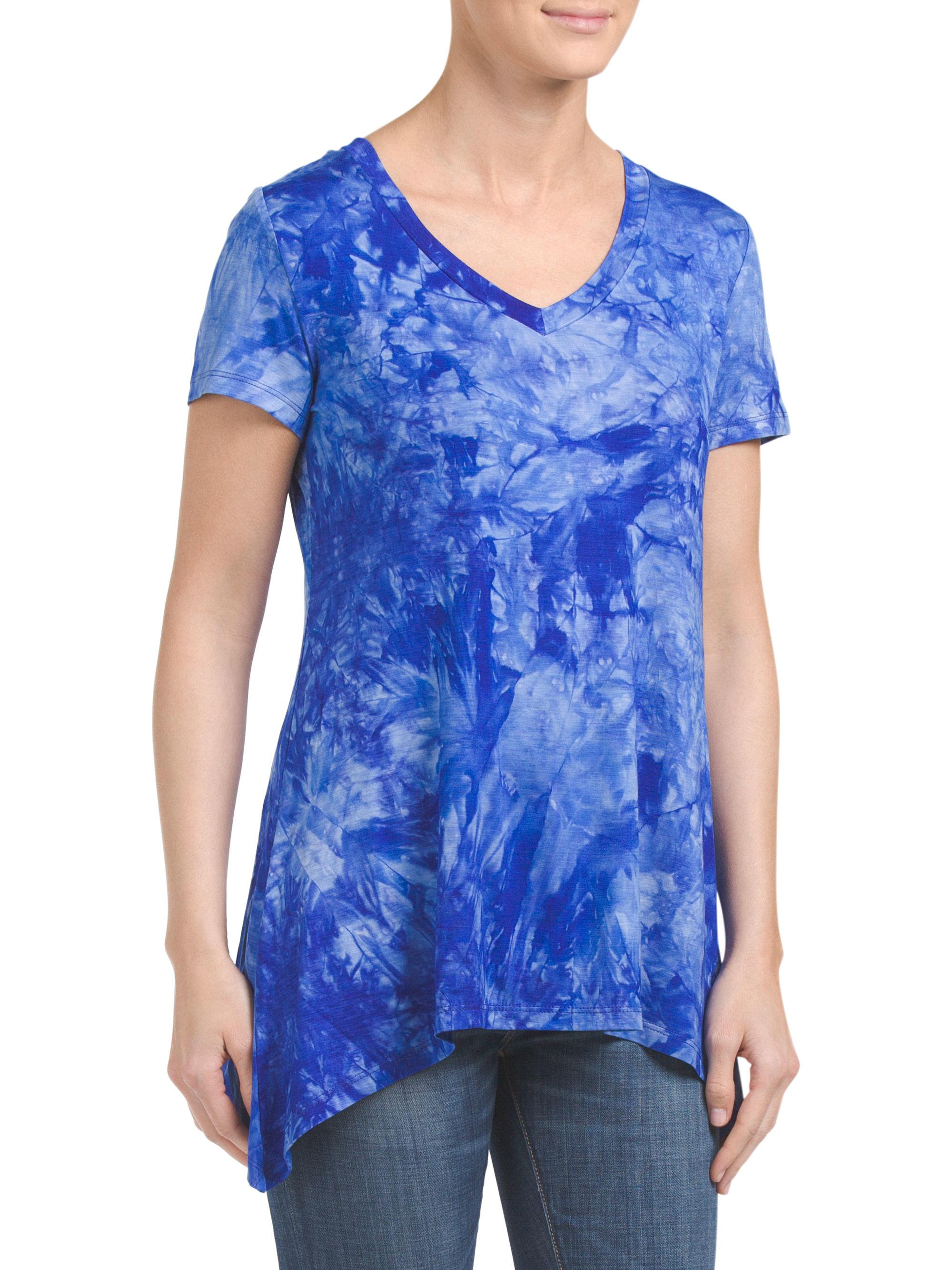 Tj maxx short sleeve shark bite dyed top in blue lyst for Tj maxx t shirts
