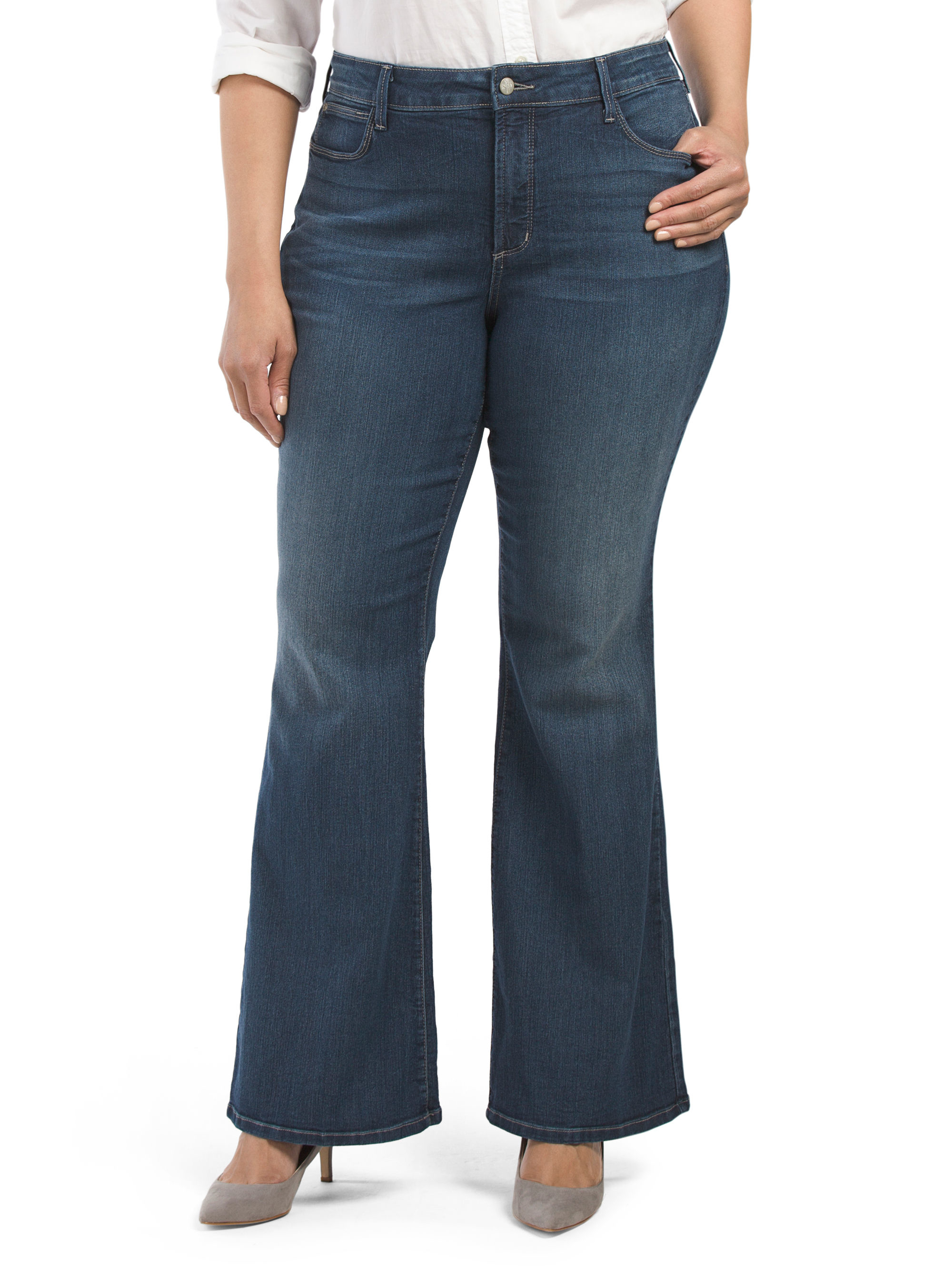 Tj maxx plus made in usa farrah flare jean in blue lyst for Tj maxx t shirts