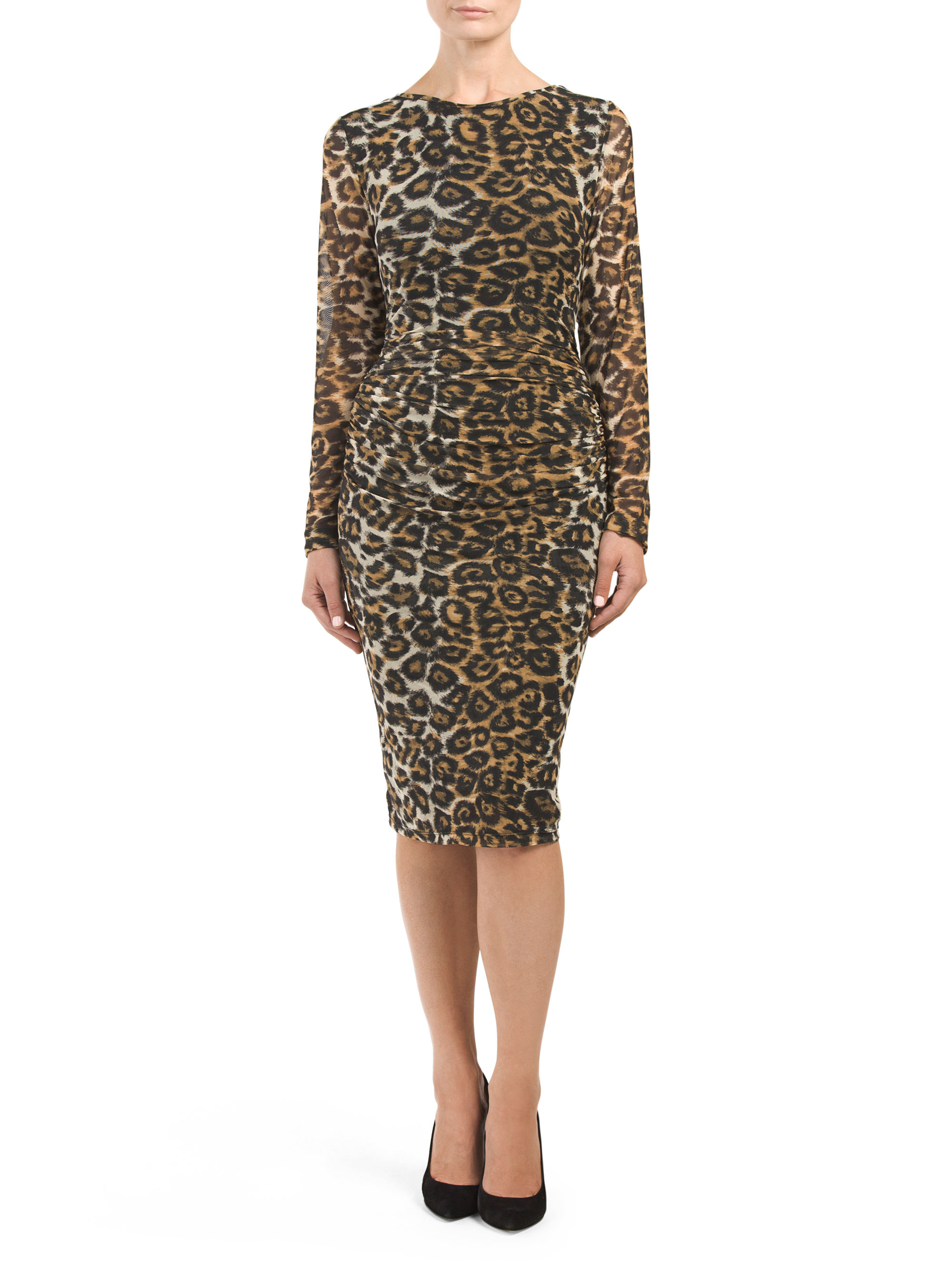 0230fd0e7c5b Lyst - Tj Maxx Cheetah Printed Shirred Dress