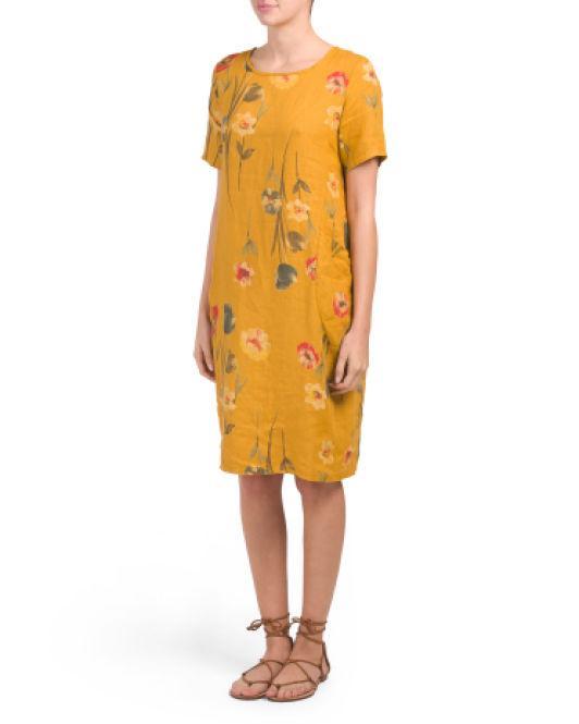 24bca6c008d9 Lyst - Tj Maxx Made In Italy Wedge Linen Midi Dress in Yellow