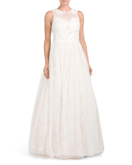 eb8115ef23ef Lyst - Tj Maxx Lace And Applique Bridal Gown in White