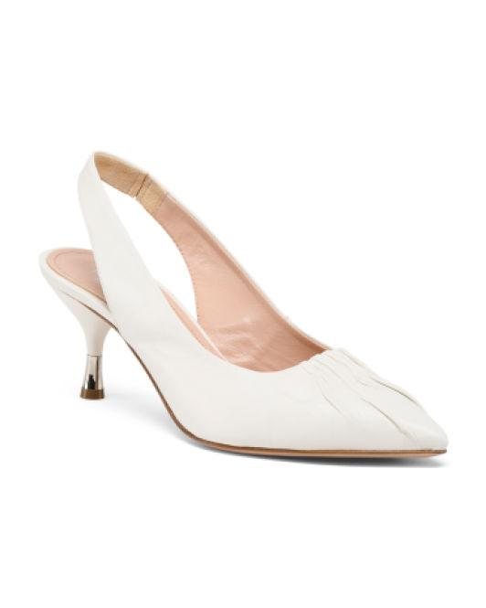 d1ac99dd67 Lyst - Tj Maxx Made In Italy Leather Slingback Pumps in White