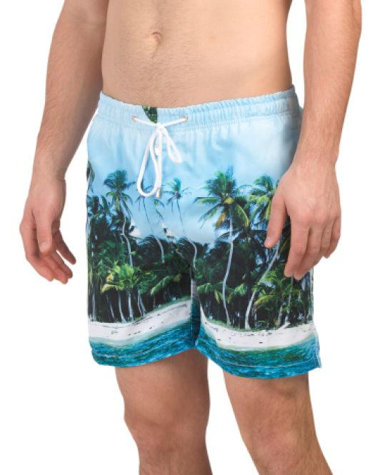 1e586b40b8 Lyst - Tj Maxx Photo Palm Print Swim Shorts in Blue for Men