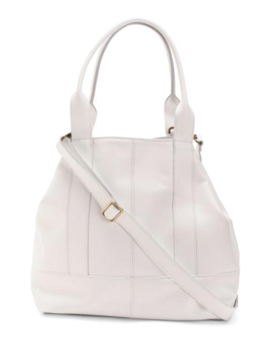 1a5997afe93 Lyst - Tj Maxx Made In Italy Calf Leather Tote in White - Save 64%
