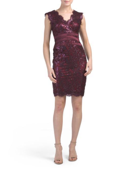 2c67d2dbd258d Lyst - Tj Maxx Petite V-neck Eyelash Lace Sheath Dress in Purple