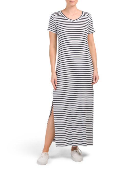 afbbc496c0 Lyst - Tj Maxx V-neck Stripe Maxi Dress in Blue
