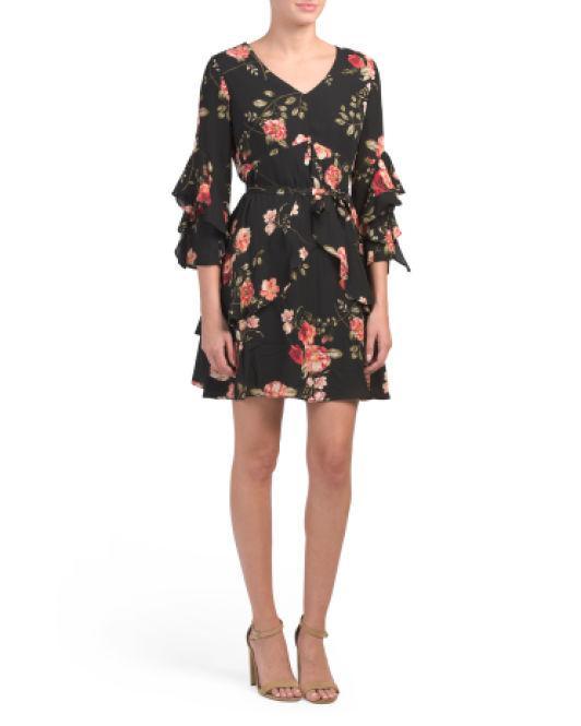 56683ae2283 Lyst - Tj Maxx Petite Floral Ruffle Dress in Black