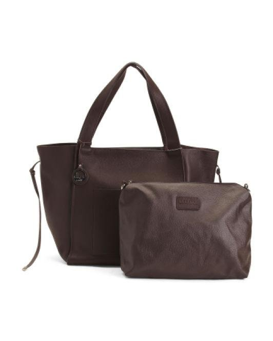 9da0fe315a5 Lyst - Tj Maxx Made In Italy Leather Tote in Brown