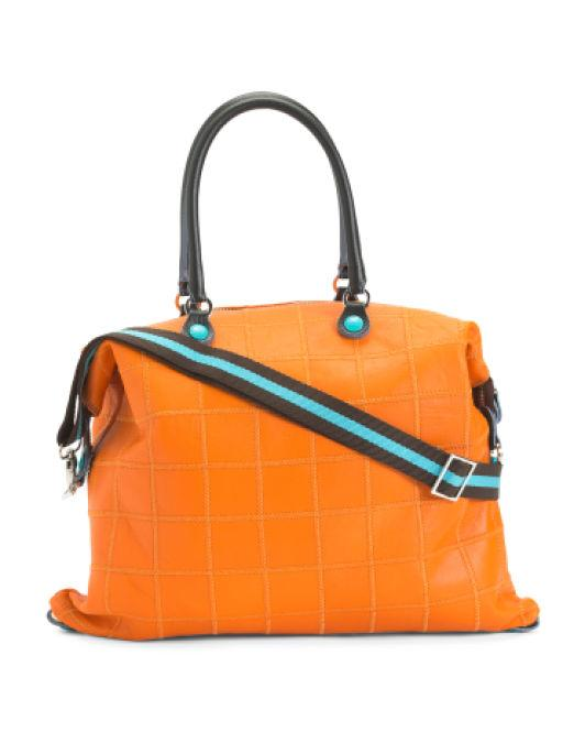 f414721bd7a Lyst - Tj Maxx Made In Italy Convertible Leather Tote in Orange