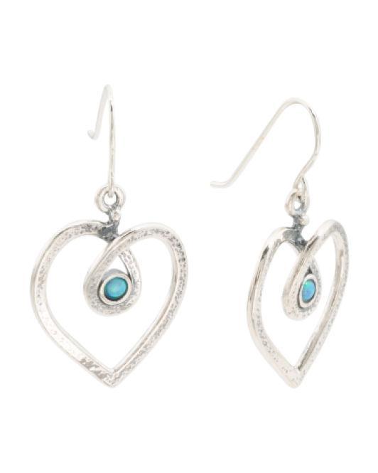 54b440dd53ac9 Women's Metallic Made In Israel Sterling Silver Opal Open Heart Earrings