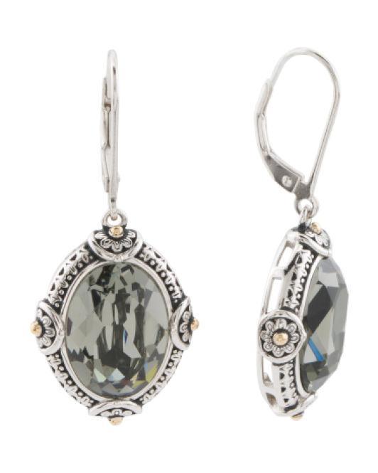 78eeddd12 Tj Maxx. Women's Metallic 14k Gold And Sterling Silver Oval Swarovski  Crystal Earrings