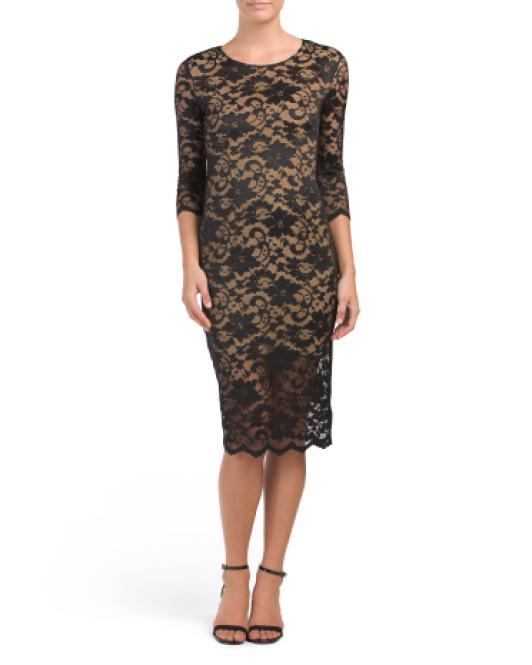 36816cb3 Lyst - Tj Maxx Lace Dress With Illusion Bottom in Black