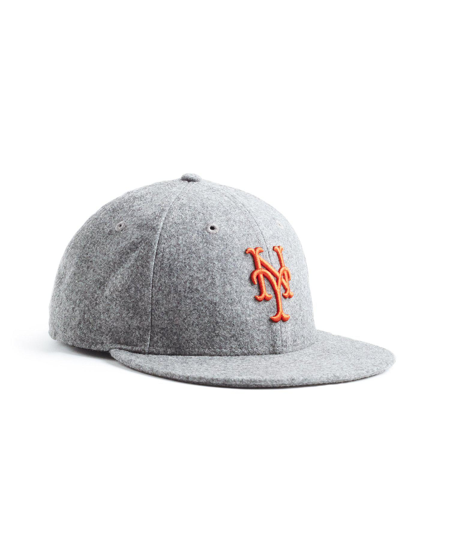 61961c01322c9 NEW ERA HATS. Men s Gray Exclusive Ny Mets Hat In Italian Barberis Wool  Flannel