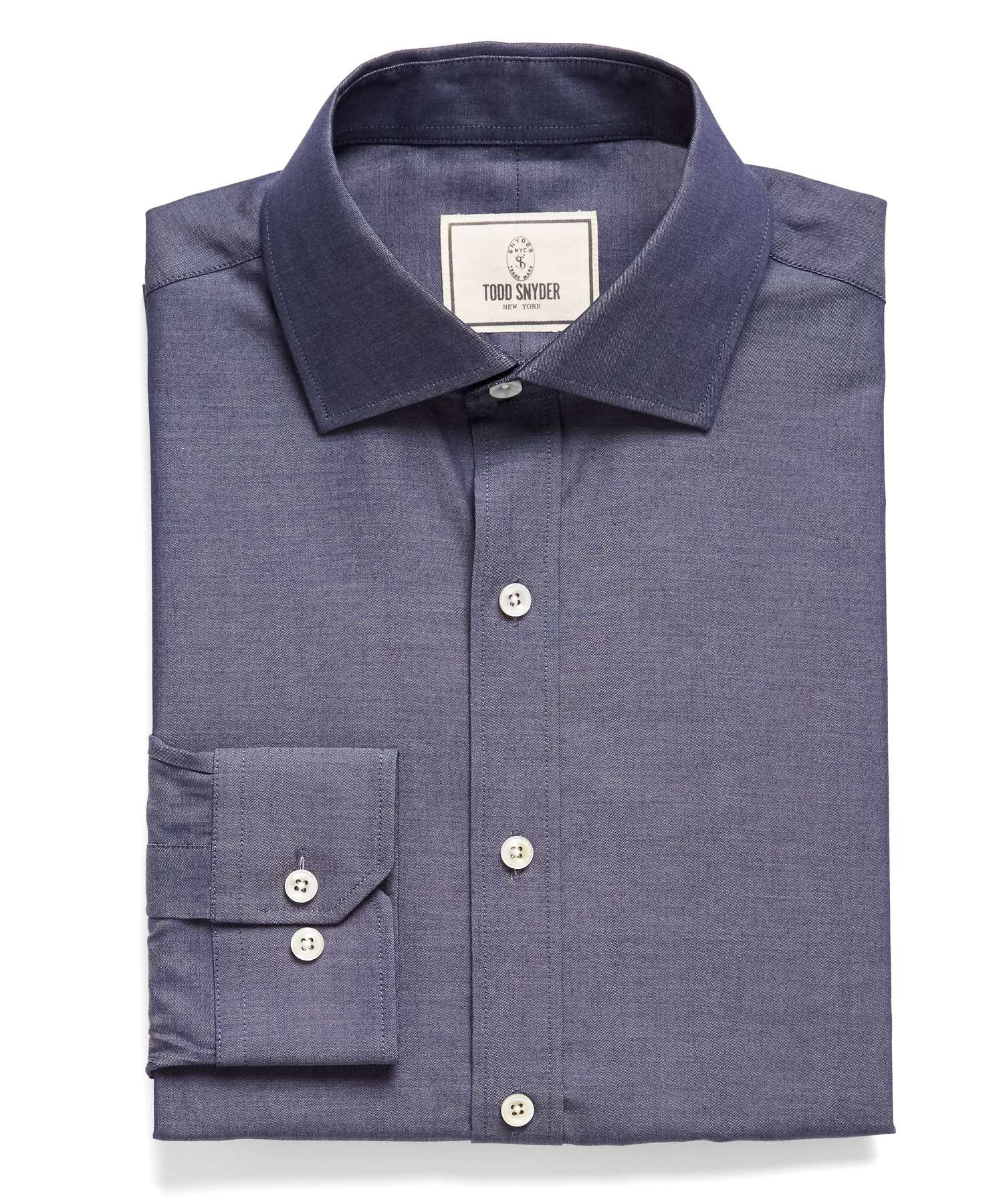 Todd snyder spread collar denim dress shirt in blue for for Mens wide collar dress shirts