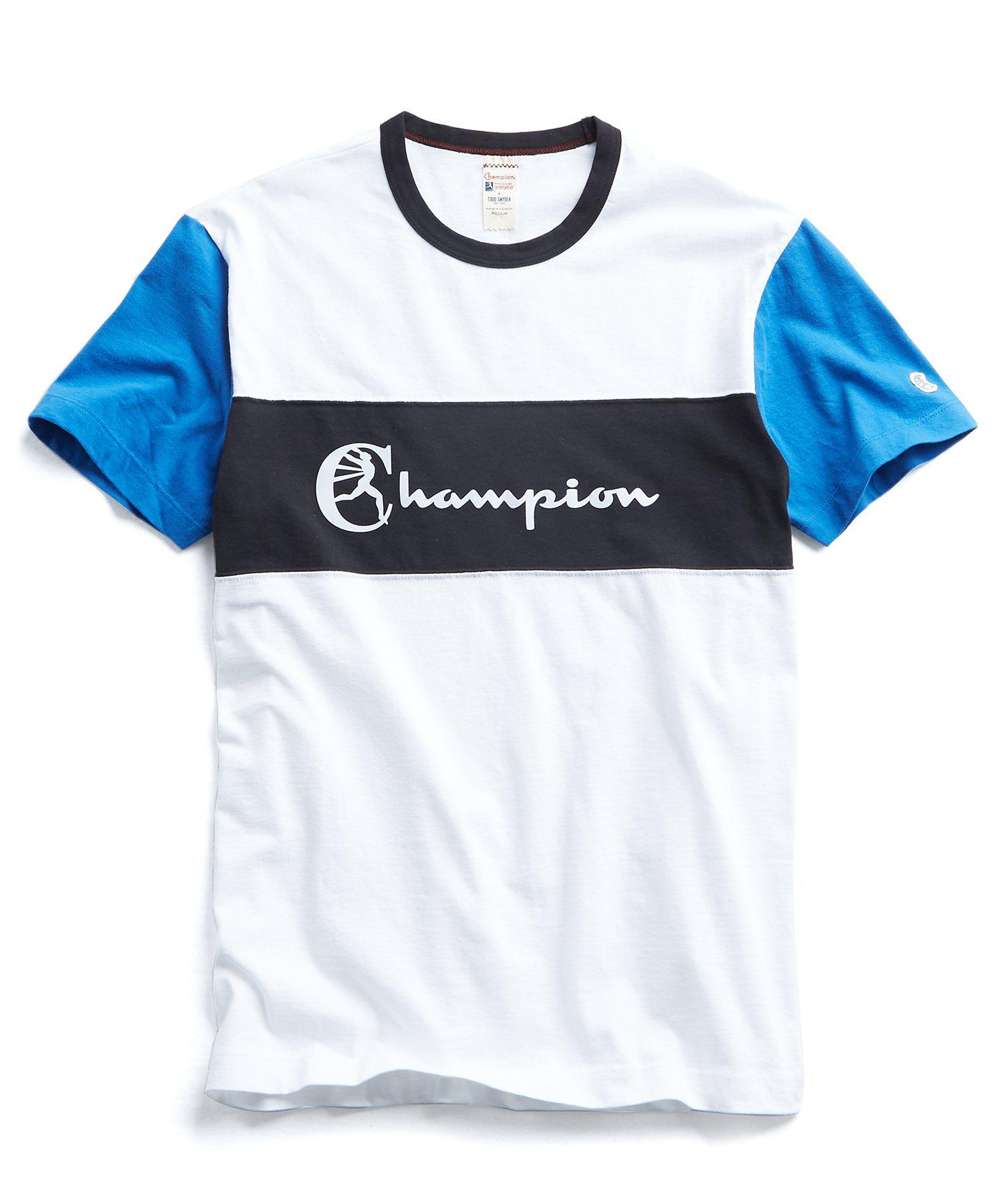 393f56693be4 Lyst - Todd Snyder Champion Pieced Graphic Tee In White in White for ...