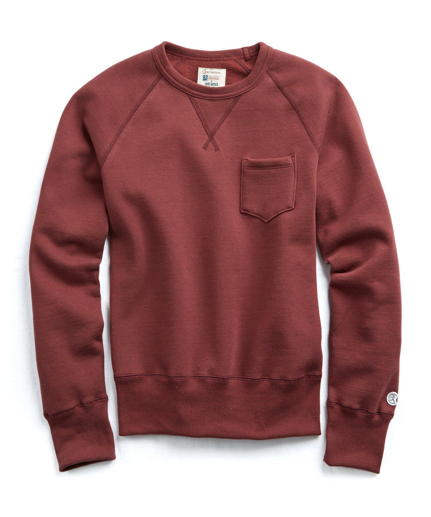 2eb4efdc32bc Todd Snyder Classic Pocket Sweatshirt In Crimson in Red for Men - Lyst